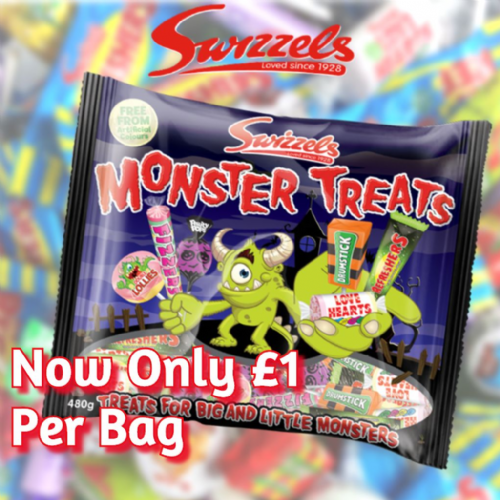 SWIZZELS MONSTER TREATS 480G BAG x8 (£1 a bag)